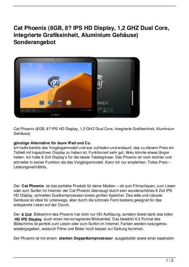 Cat Phoenix (8GB, 8? IPS HD Display, 1,2 GHZ Dual Core,integrierte Grafikeinheit, Aluminium Gehäuse)SonderangebotCat Phoen...
