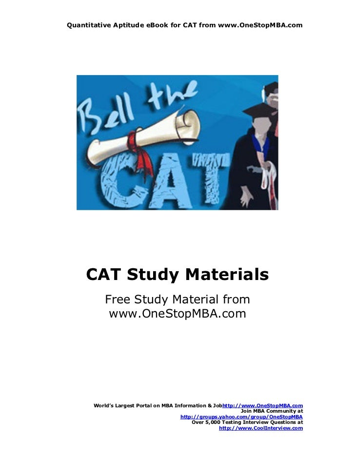 Quantitative Aptitude eBook for CAT from www.OneStopMBA.com    CAT Study Materials          Free Study Material from      ...