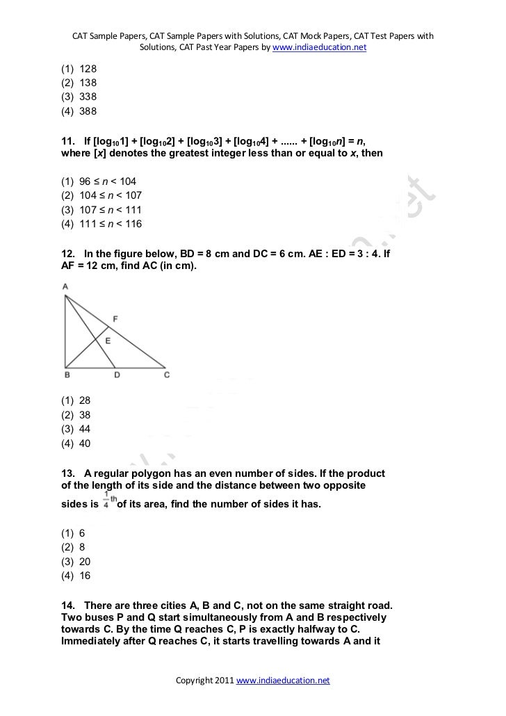 Superb Copyright 2011 Www.indiaeducation.net; 4. CAT Sample Papers ...
