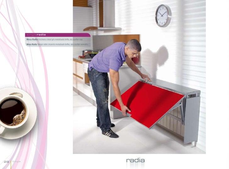 singleradia              Mesa Radia Encimera cristal gris metalizado brillo, ala auxiliar rojo.              Mesa Radia Ta...