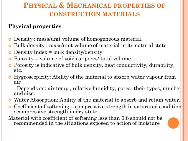 Construction material and technology 2 physical mechanical properties of construction materials physical properties density sciox Images