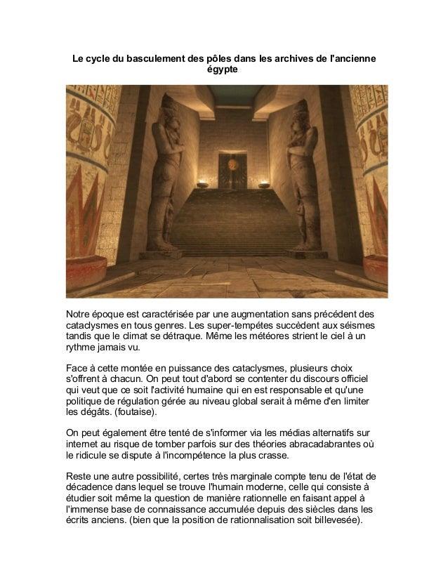 Le cycle du basculement des pôles dans les archives de l'ancienne égypte Notre époque est caractérisée par une augmentatio...