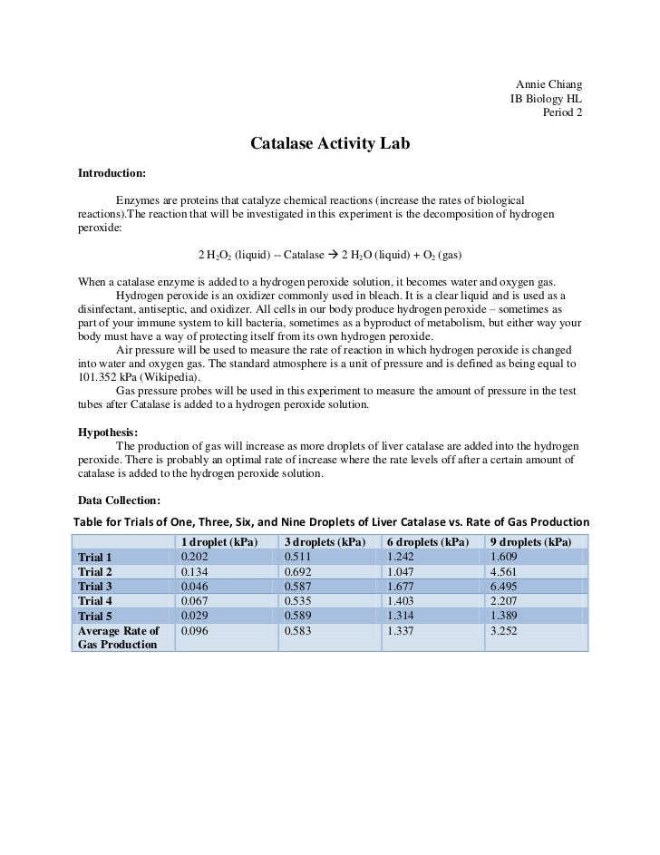 enzyme lab report The major objective of this experiment was to observe the effects of catalase under varying controlled conditions the scope of this experiment includes metabolic processes, such as cellular respiration, and it poisonous byproduct hydrogen peroxide.