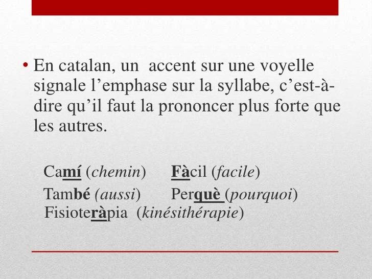 En catalan, un  accent sur une voyelle signale l'emphase sur la syllabe, c'est-à-dire qu'il faut la prononcer plus forte q...