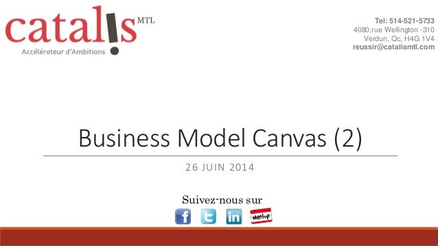 Business Model Canvas (2) 26 JUIN 2014 Tel: 514-521-5733 4080,rue Wellington -310 Verdun, Qc, H4G 1V4 reussir@catalismtl.c...
