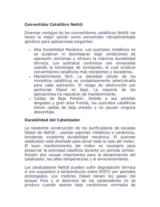 Convertidor Catalítico Nett® Diversas ventajas de los convertidores catalíticos Nett® los hacen la mejor opción como conve...