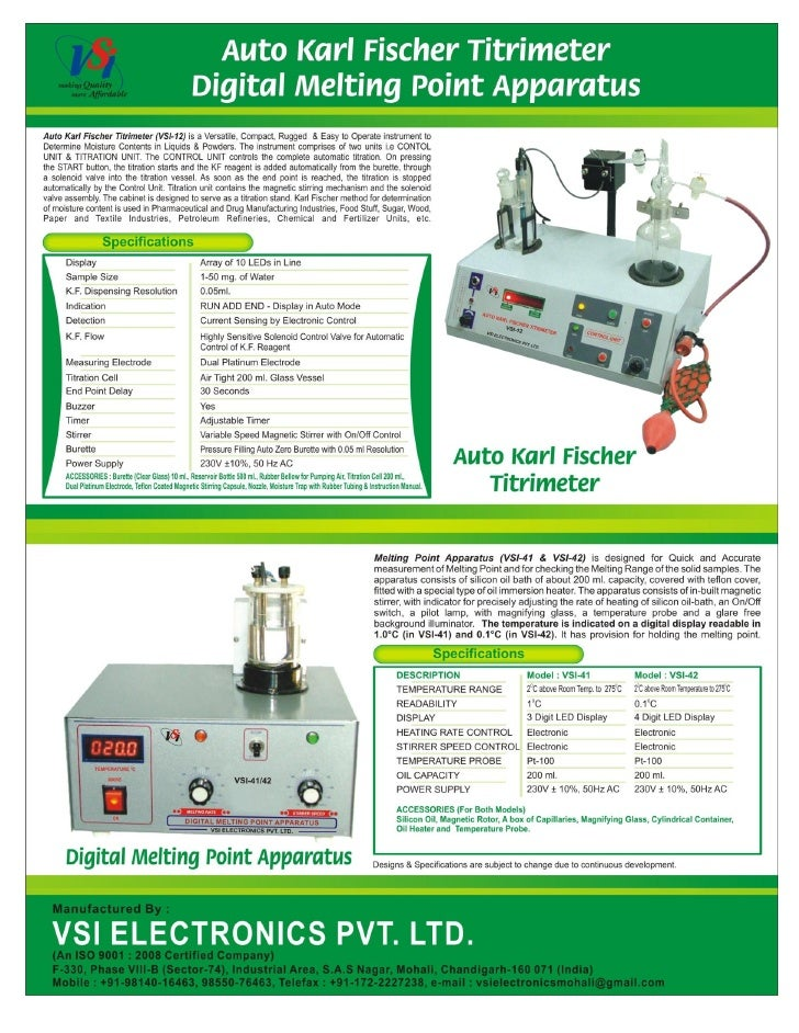 Catalog Auto Karl Fischer Titrator & Digital Melting Point Apparatus