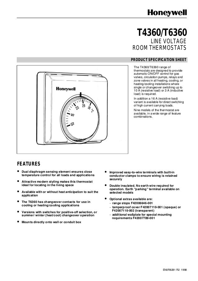 Catalog b iu khin nhit thermostat honeywell t6360 en0r8281 r2 1998 t4360t6360 line voltage room thermostats product specification sheet the t4360 asfbconference2016 Gallery
