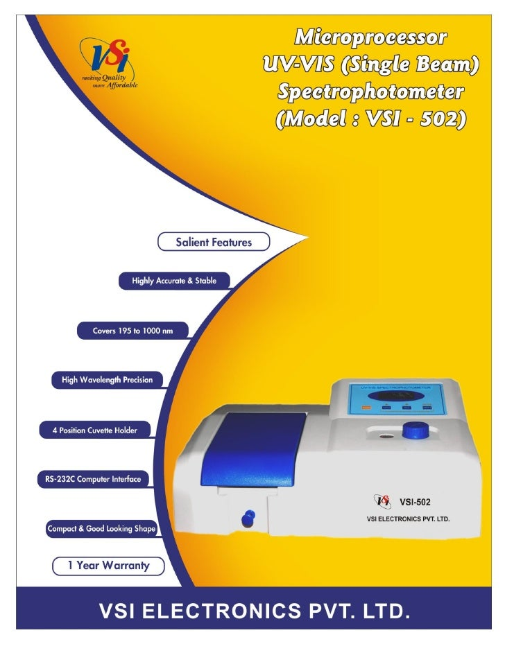 Catalog Single Beam UV-VIS Spectrophotometer VSI-502