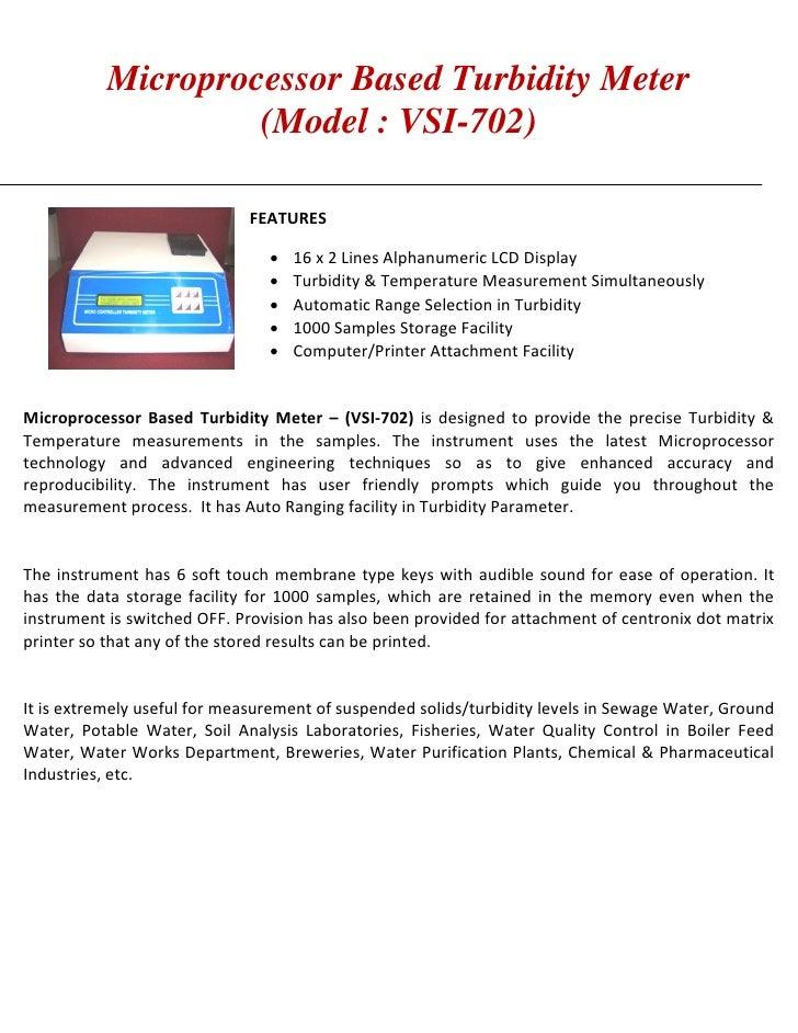Microprocessor Based Turbidity Meter                    (Model : VSI-702)                             FEATURES            ...