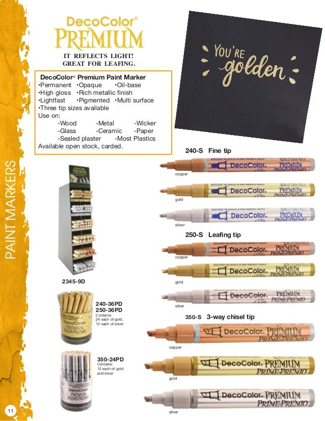 DecoColor Premium Oil Based Paint Marker Carded-Chisel Tip Silver Marvy