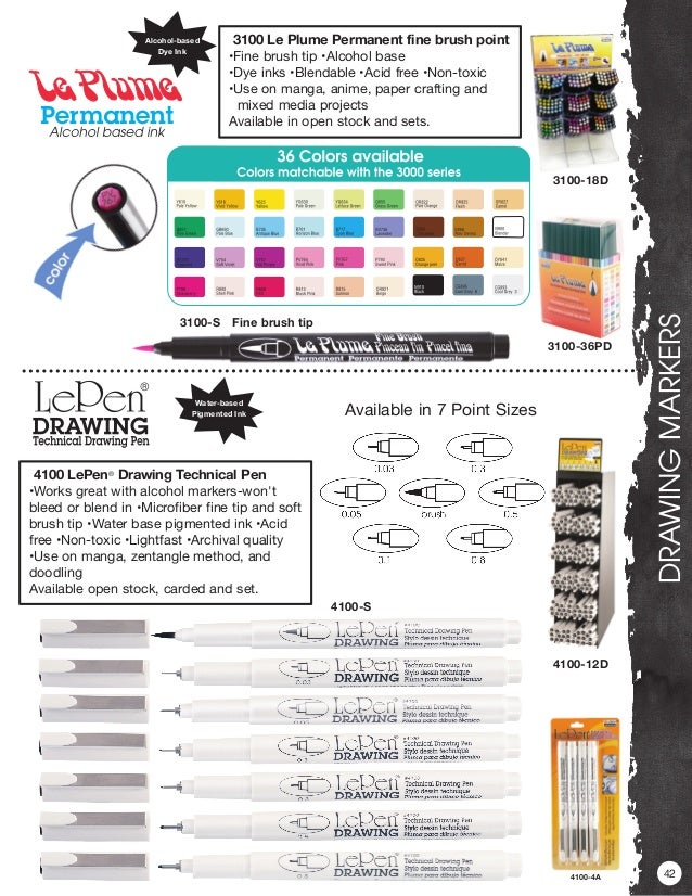 Alcohol based ink marker 24A Basic colour set Marvy Le Plume Permanent