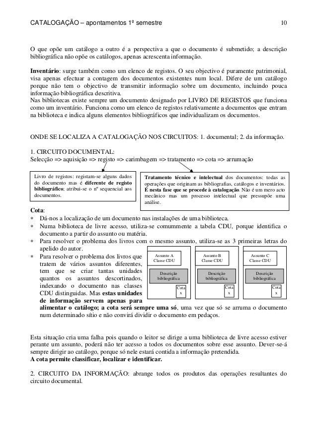 CATALOGAÇÃO – apontamentos 1º semestre  10  O que opõe um catálogo a outro é a perspectiva a que o documento é submetido; ...