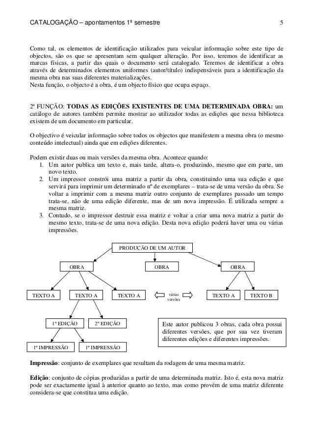CATALOGAÇÃO – apontamentos 1º semestre  5  Como tal, os elementos de identificação utilizados para veicular informação sob...