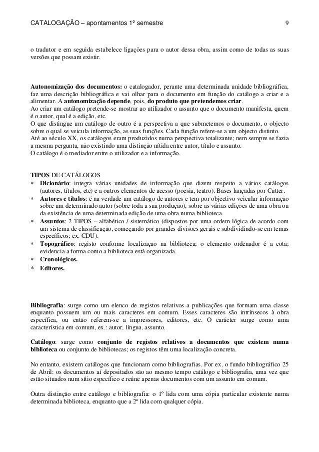 CATALOGAÇÃO – apontamentos 1º semestre  9  o tradutor e em seguida estabelece ligações para o autor dessa obra, assim como...