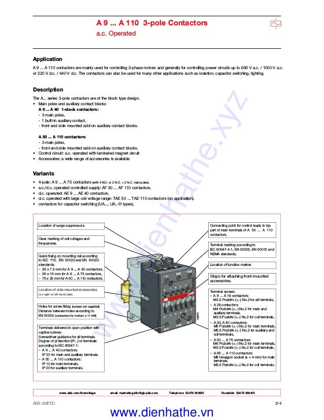 Catalog Contactor ABB - Khởi Động từ ABB on