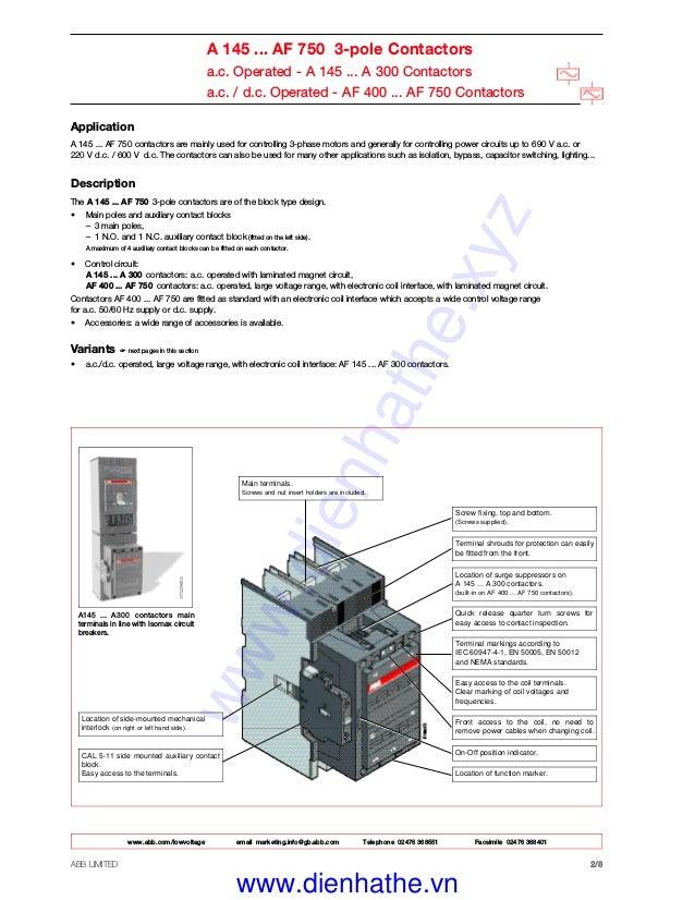 [DIAGRAM_1JK]  Catalog Contactor ABB - Khởi Động từ ABB | Abb 145 30 Contactor Wiring Diagram |  | SlideShare