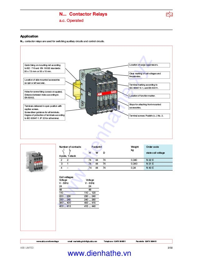 Catalog contactor abb on