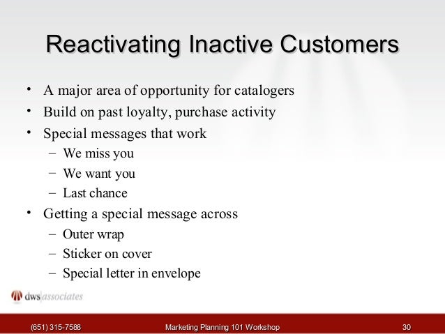 Catalog marketing 101 2 of 8 30 reactivating inactive customers spiritdancerdesigns Image collections