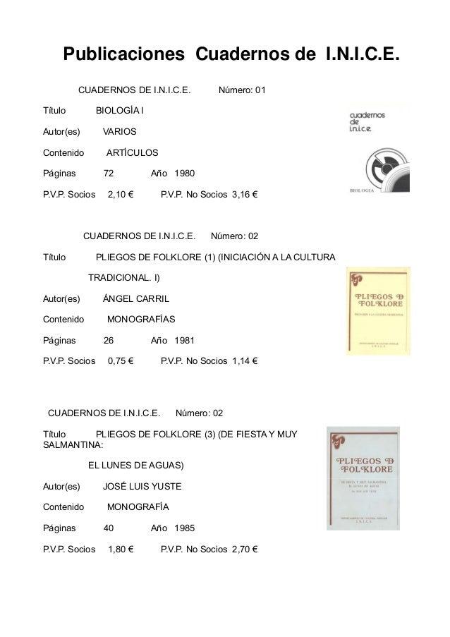 Publicaciones Cuadernos de I.N.I.C.E.          CUADERNOS DE I.N.I.C.E.          Número: 01Título          BIOLOGÍA IAutor(...