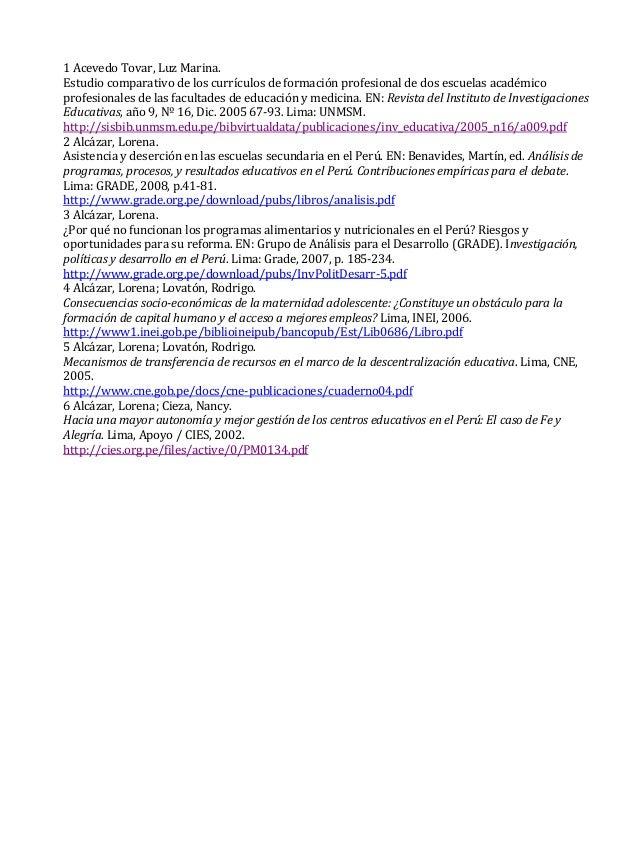 1 Acevedo Tovar, Luz Marina. Estudio comparativo de los currículos de formación profesional de dos escuelas académico prof...