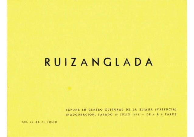 Ruizanglada Catalogo - 1972 Centro Cultural La Eliana Valencia