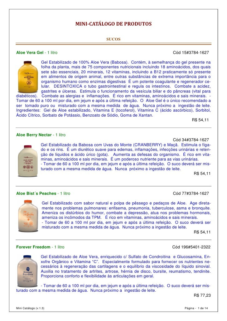 Catalogo de Produtos Forever Living Products para Download