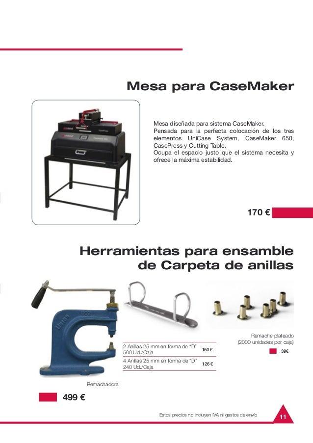 """11Mesa para CaseMaker170 €Herramientas para ensamblede Carpeta de anillas2 Anillas 25 mm en forma de """"D""""500 Ud./Caja150 €4..."""