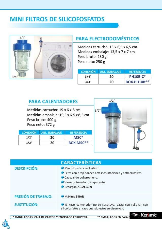 x 3//4 RC PH10B-C Mini Filtro Silicofosfatos para Electrodom/ésticos