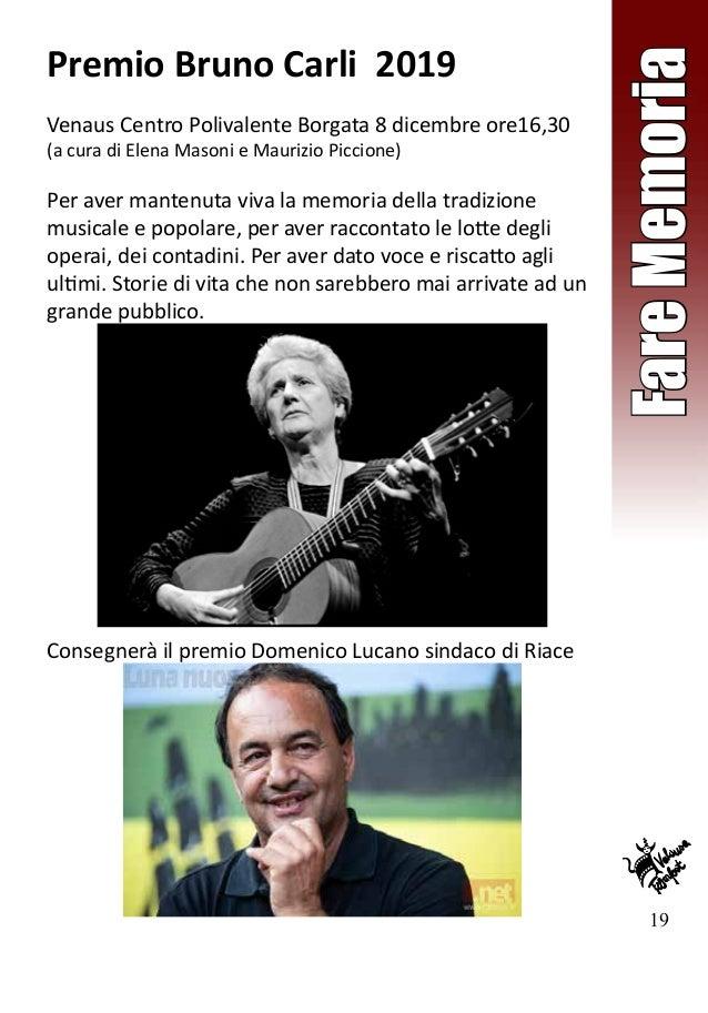 19 FareMemoria Premio Bruno Carli 2019 Venaus Centro Polivalente Borgata 8 dicembre ore16,30 (a cura di Elena Masoni e Mau...