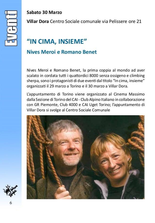 """6 Eventi Sabato 30 Marzo Villar Dora Centro Sociale comunale via Pelissere ore 21 """"IN CIMA, INSIEME"""" Nives Meroi e Romano ..."""