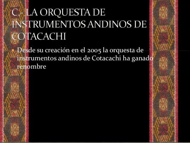  aquí incluiremos los hallazgos significativos dentro de la ciudad de Cotacachi en cuanto a instrumentos.