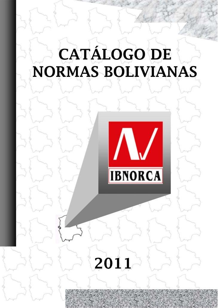 CATÁLOGO DE    NORMAS BOLIVIANAS          20110