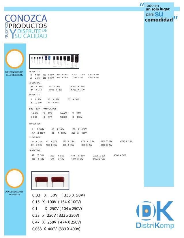 CONOZCACONDENSADORES     16 VOLTIOS ELECTROLITICOS   10     X 16V       100   X 16V       330    X 16V         1. 000 X 16...