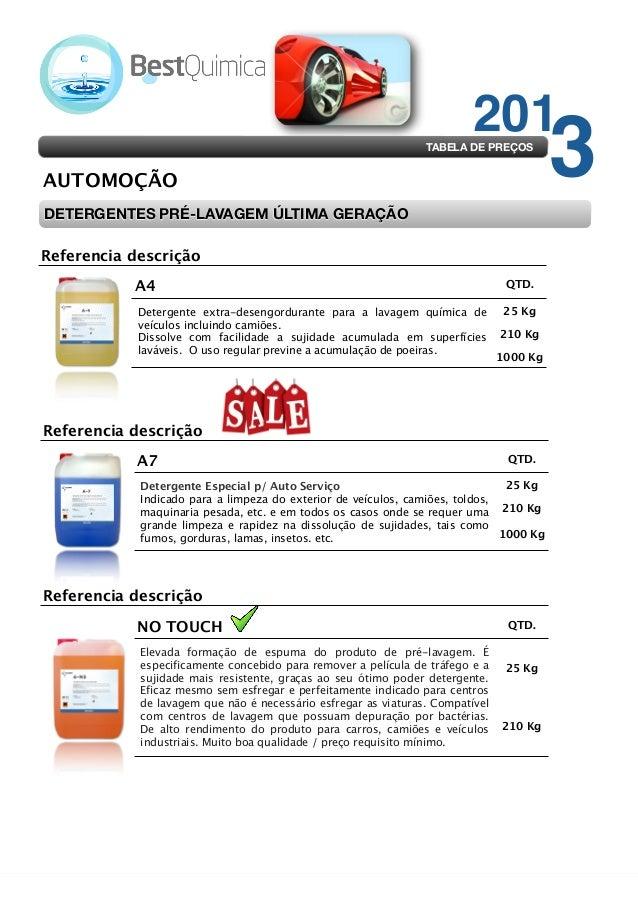 201  TABELA DE PREÇOS  AUTOMOÇÃO DETERGENTES PRÉ-LAVAGEM ÚLTIMA GERAÇÃO Referencia descrição A4  QTD.  Detergente extra-de...