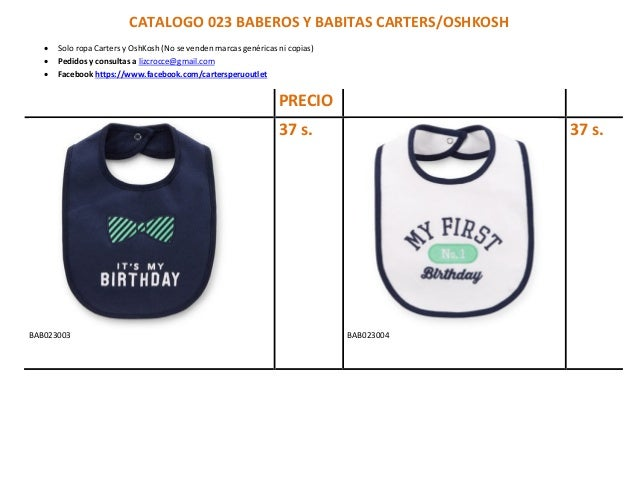 CATALOGO 023 BABEROS Y BABITAS CARTERS/OSHKOSH  Solo ropa Carters y OshKosh (No se venden marcas genéricas ni copias)  P...
