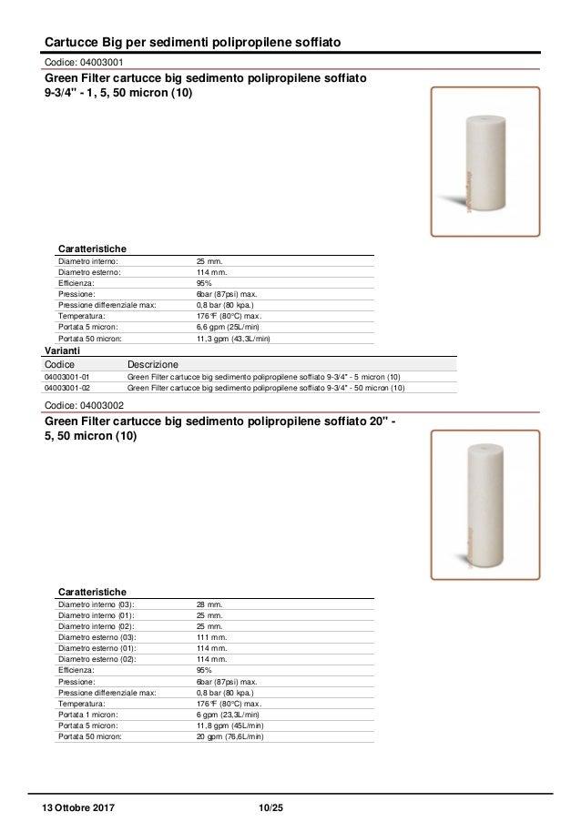 """Green Filter Cartuccia Filtro Sedimento Polipropilene Soffiato 20/"""" 5 Micron"""