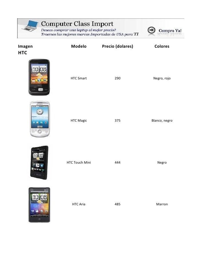 Imagen     Modelo         Precio (dolares)    ColoresHTC           HTC Smart            290           Negro, rojo         ...
