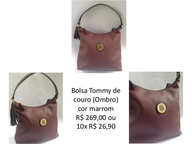 ea6d9edf1f4 Bolsa Tommy de couro (Ombro) cor marrom ...