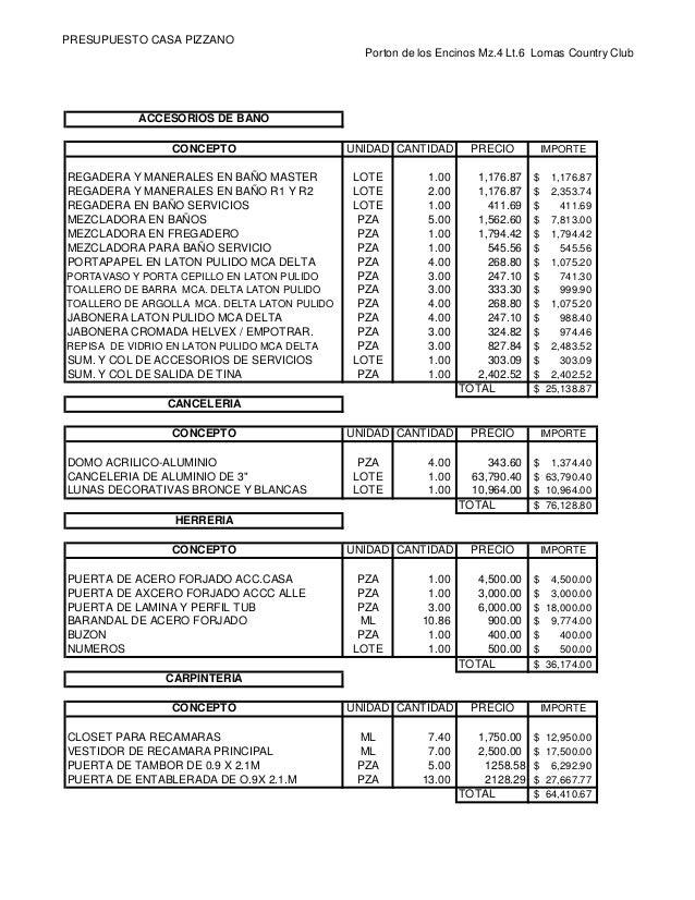 Catalogo de conceptos - Presupuesto para hacer un bano ...