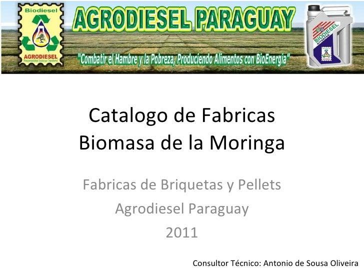 Catalogo de Fabricas Biomasa de la Moringa Fabricas de Briquetas y Pellets Agrodiesel Paraguay 2011 Consultor Técnico: Ant...