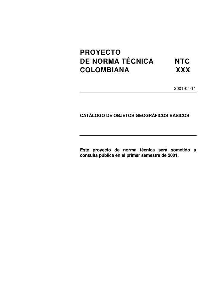 PROYECTODE NORMA TÉCNICA                      NTCCOLOMBIANA                            XXX                                ...