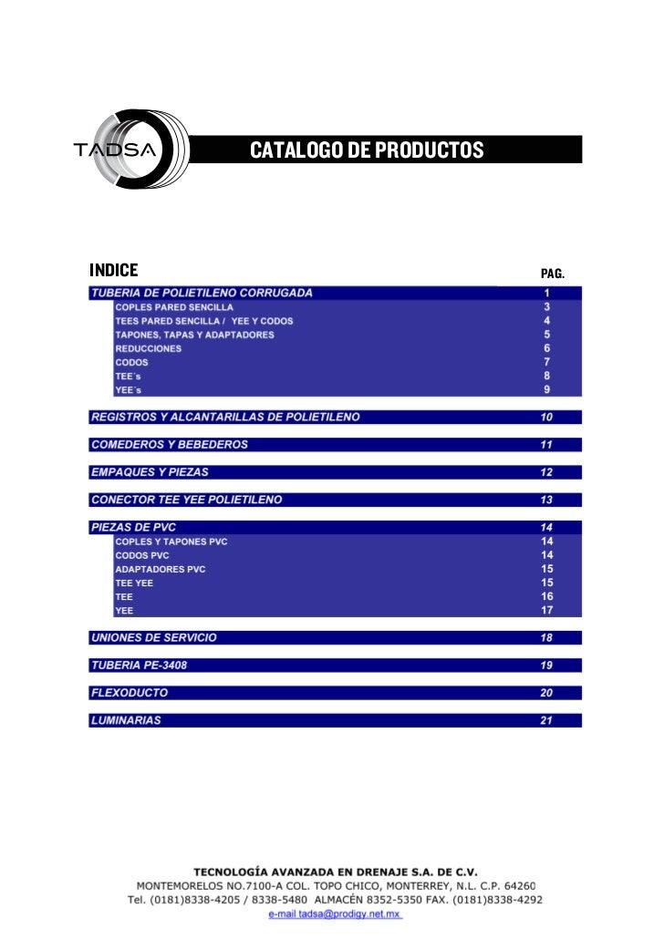 CATALOGO DE PRODUCTOSINDICE                                                                    PAG.                TECNOLO...