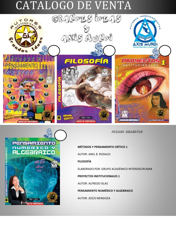 CATALOGO DE VENTA     GRANDES IDEAS            Y      AXIS MUNDI                                  PRIMER SEMESTRE         ...