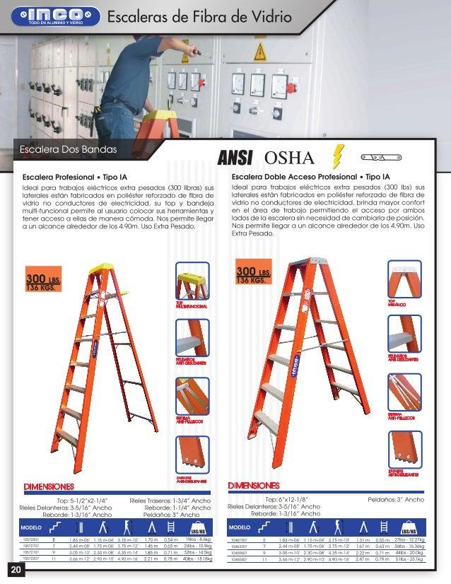 Escaleras de aluminio y fibra de vidrio inco - Escalera fibra de vidrio ...