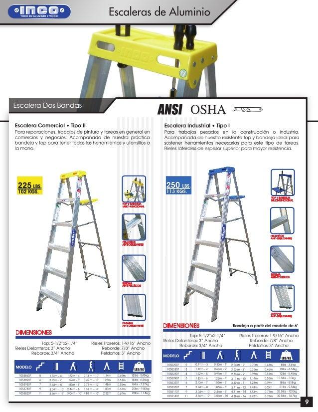 Escaleras de aluminio y fibra de vidrio inco for Tipos de escaleras de aluminio