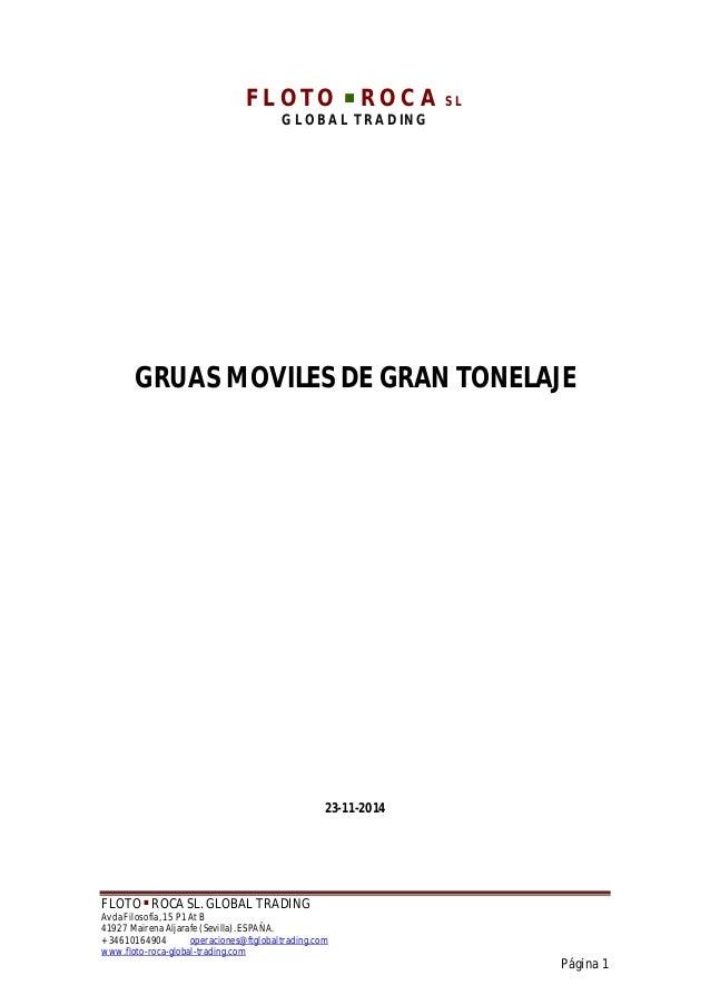 FLOTO ■ ROCA SL. GLOBAL TRADING Avda Filosofía, 15 P1 At B 41927 Mairena Aljarafe (Sevilla). ESPAÑA. + 34610164904 operaci...