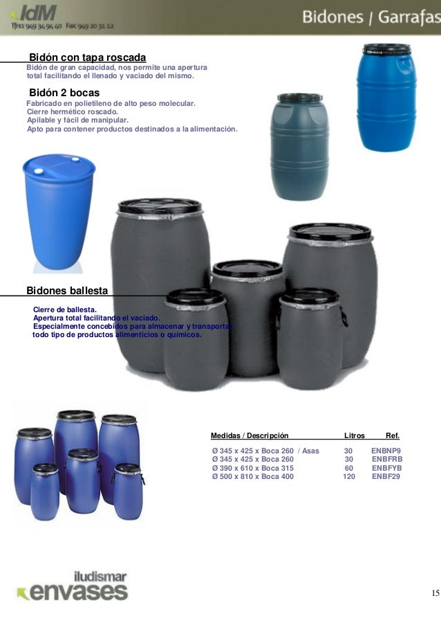 Catalogo idm for Bidon 30 litros cierre ballesta