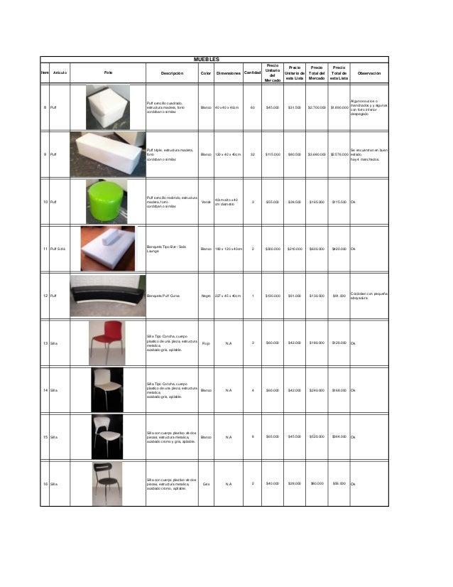 MUEBLESItem Articulo Foto Descripción Color Dimensiones CantidadPrecioUnitariodelMercadoPrecioUnitario deesta ListaPrecioT...