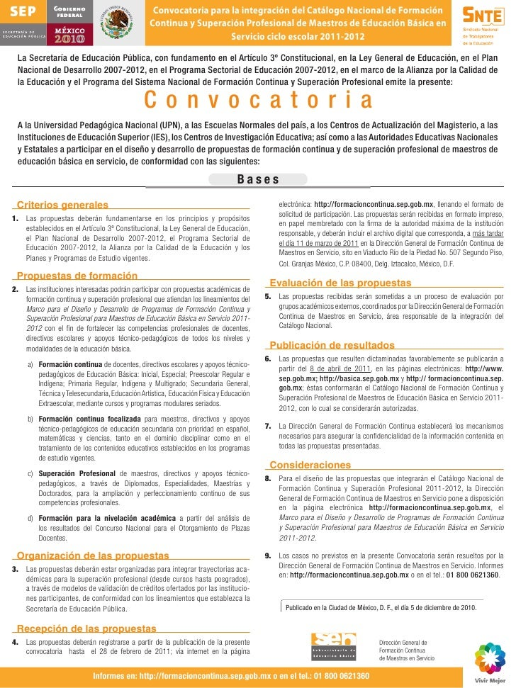 Convocatoria para la integración del Catálogo Nacional de Formación                                               Continua...